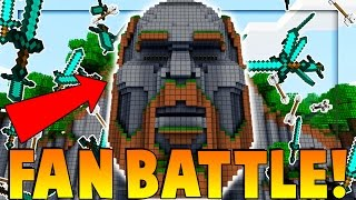 FAN BATTLE ON TEMPLE OF NOTCH - Minecraft vs 50 Fans (The Pack)