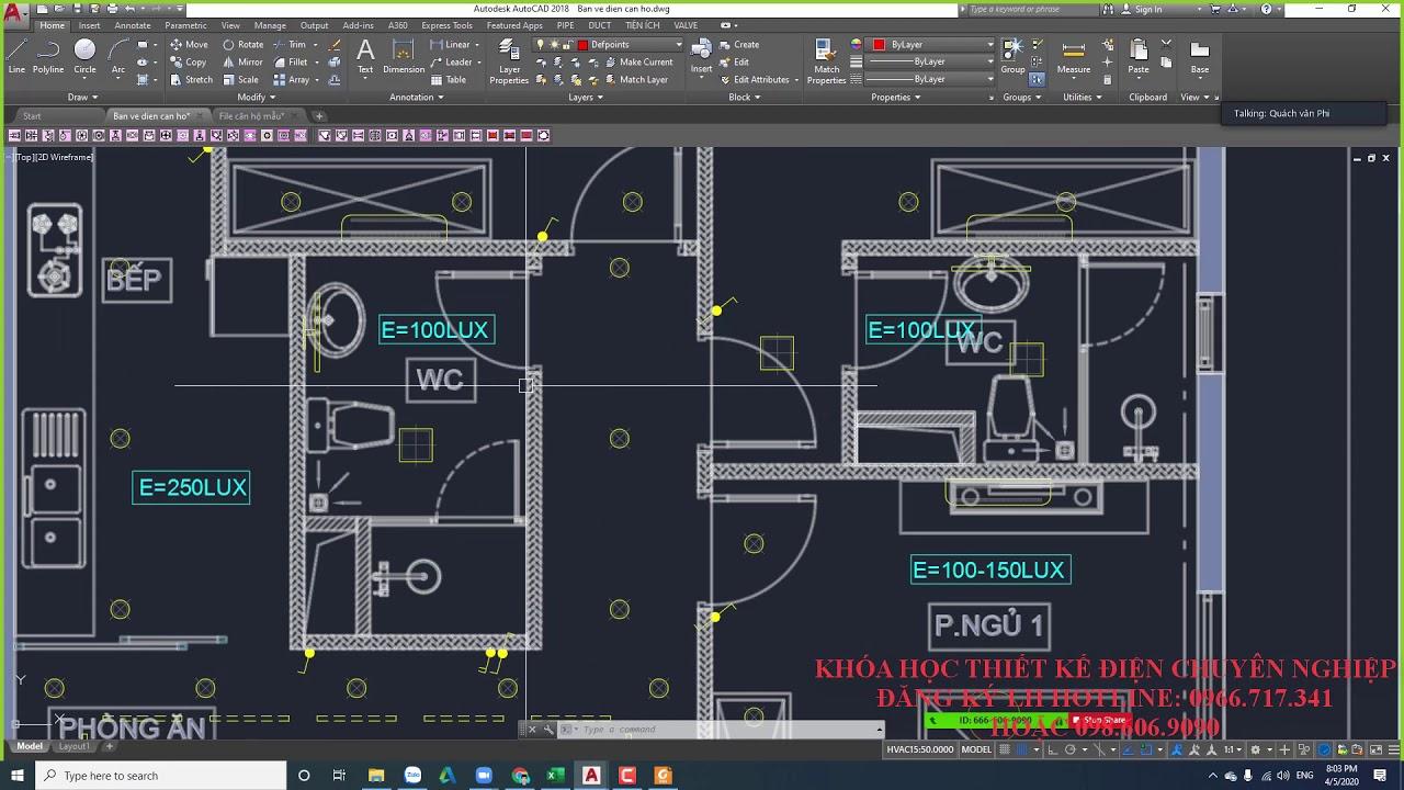 Bài 2.2 Thiết kế chiếu sáng –  Thực hành vẽ thiết kế