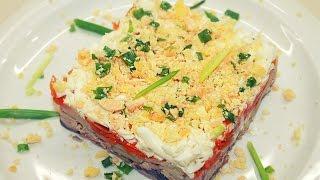 Салат Мимоза / Mimosa Salad Recipe(Рецепт приготовления праздничного салата Мимоза с горбушей. Пошаговый рецепт приготовления. Очень вкусны..., 2016-12-03T13:24:25.000Z)