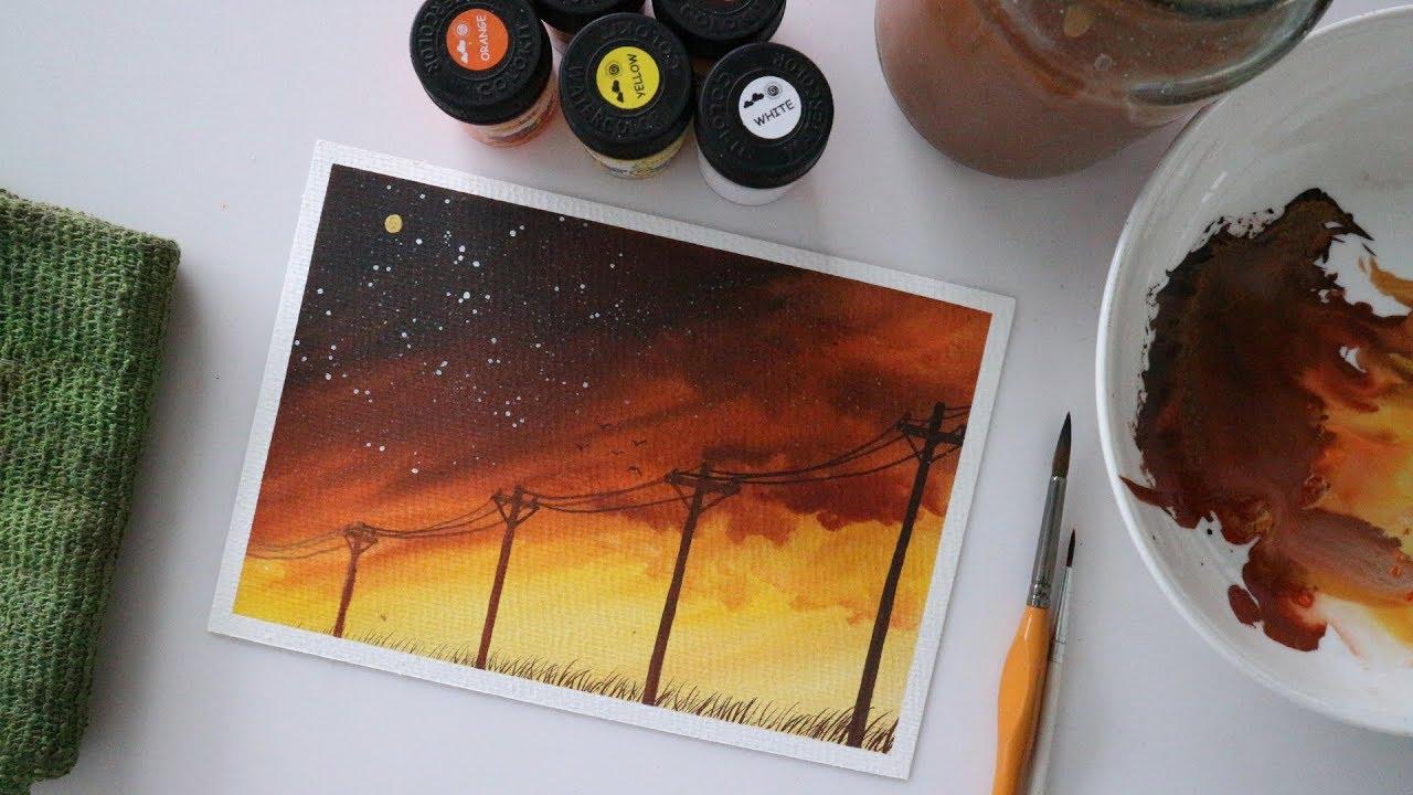 ART#19|Màu nước Thiên Long – Vẽ tranh phong cảnh | Watercolor Tutorial| Landscape