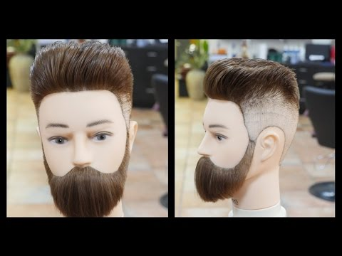 pompadour fade amp beard trim thesalonguy youtube