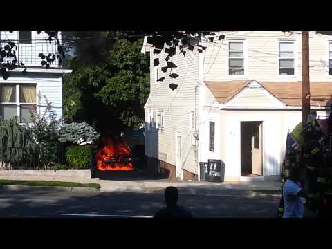 Car fire on North Avenue in New Rochelle.