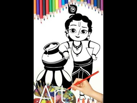Little Krishna Drawing Janmashtami Special Time Lapse 2017