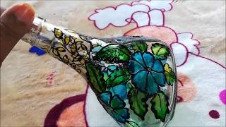 Bottle art/Glass Painting on Bottle  || Bottle craft || Bottle Decoration