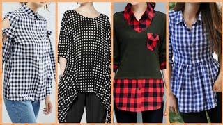 Stunning stylish check and lining patren casual tunic top women dress shirt women full sleeve tshirt