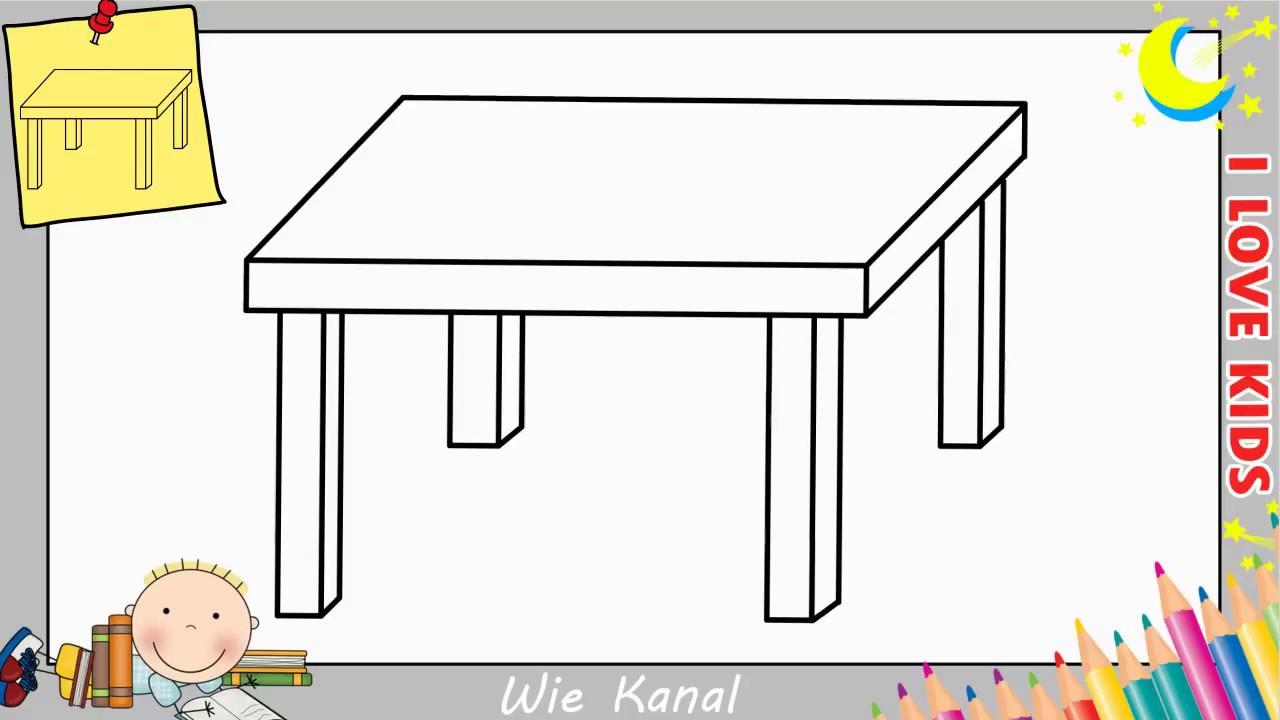 tisch zeichnen lernen einfach schritt f r schritt f r anf nger kinder 1 youtube. Black Bedroom Furniture Sets. Home Design Ideas