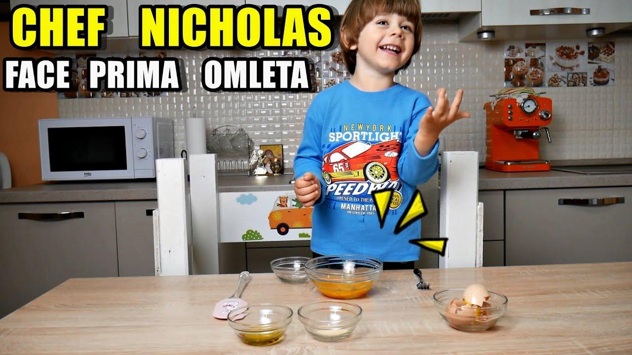 Chef Nicholas în BUCĂTĂRIE - face prima Omletă la doar 3 ani și 9 luni