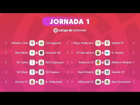 Calendario Primera División de Fútbol en España 2018 - 2019, La Liga Santander