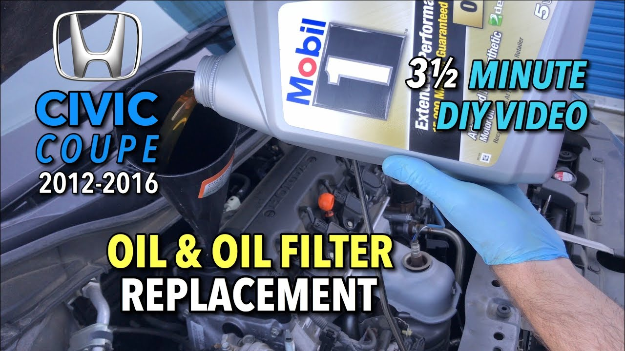 honda civic coupe oil filter change 2012 2016 2 1 2 minute diy video youtube honda civic coupe oil filter change 2012 2016 2 1 2 minute diy video