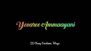 Yevaree Ammayani Adiga Song Black Screen Lyrics #NeneAmbani
