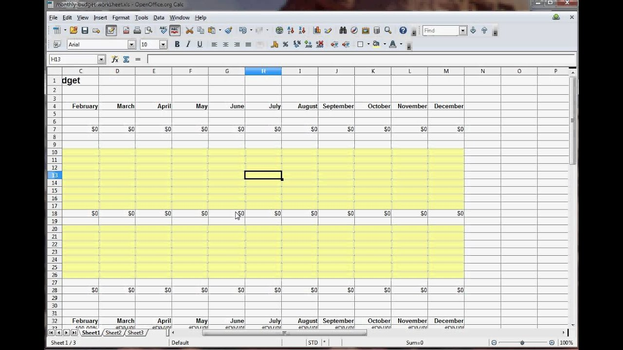 Creating a budget worksheet
