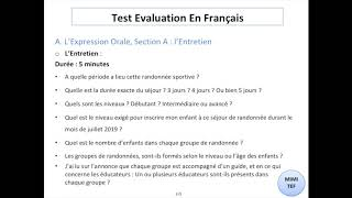 Tef / Tef Canada - Section A, Expression Orale : 10 QUESTIONS