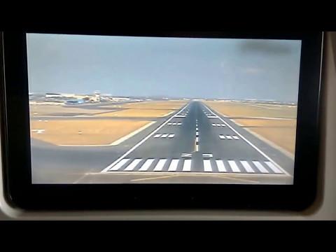 Emirates in-flight camera — landing at Chennai International Airport