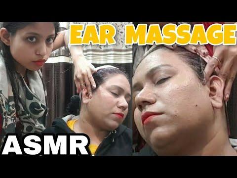 ASMR Ear Reflexology by female barber   Indianmassage   Ear massage   ASMR Relaxation   Deep-Sleep