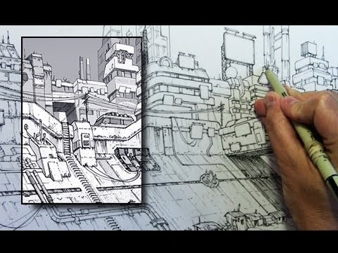Inking Time Lapse: Dystopian Cityscape from
