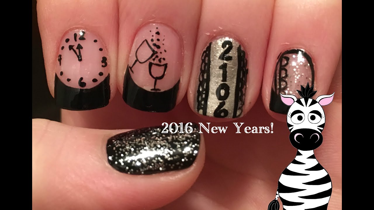 New Year\'s Eve 2016 Nail Art Tutorial - YouTube