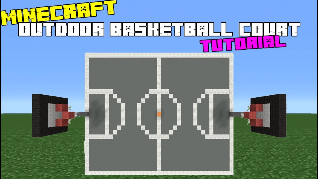 Minecraft tutorial how to make an outdoor basketball for How to build basketball court