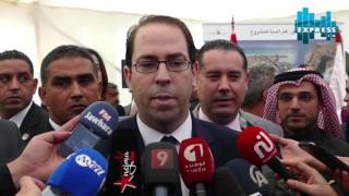يوسف الشاهد يعطي إشارة انطلاق أشغال مشروع مرفأ  تونس المالي