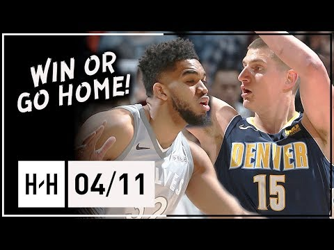 Nikola Jokic vs Karl-Anthony Towns EPIC Duel Highlights (2018.04.11) Wolves vs Nuggets - MUST WIN