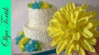 ХРИЗАНТЕМА из творожного крема МК Цветы из крема Украшение торта