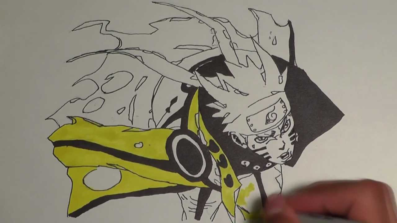 Naruto Uzumaki Shippuden Bijuu Mode Drawing – HD Wallpaper