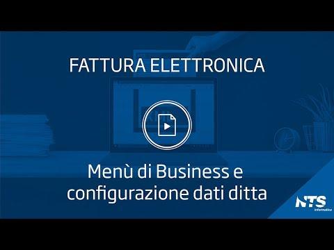 Consolle: principali funzionalità - Menù business e configurazione dati ditta