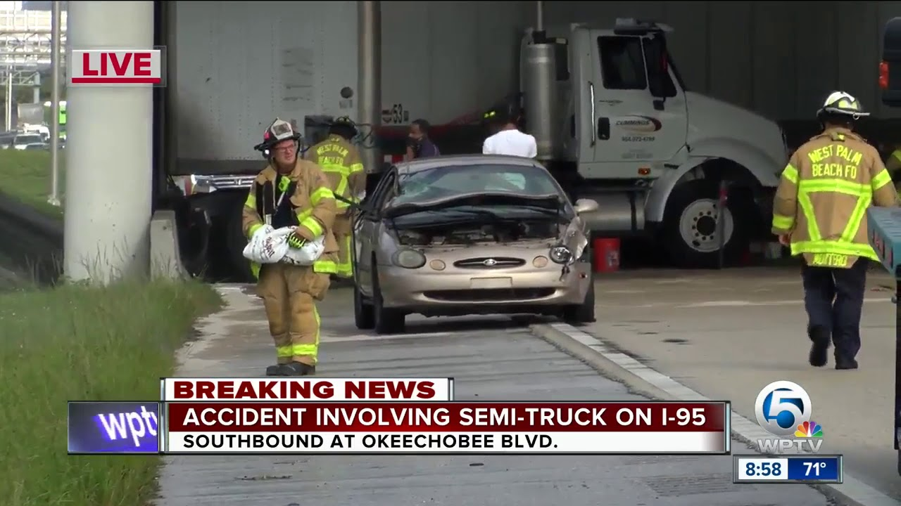 Semi crash on I-95 southbound in West Palm Beach