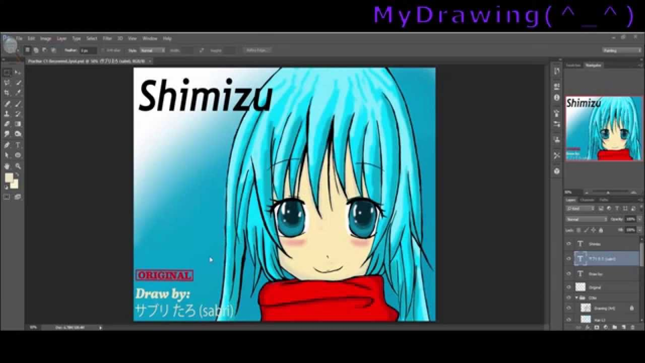 photoshop cc: painting and coloring anime character (my own) - youtube