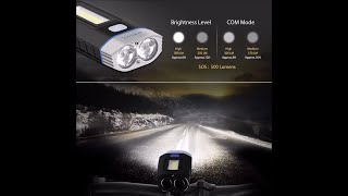 Ymiko USB Rechargeable Bike Light Set & Power Bank 4000mAh