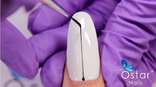 The easiest way to draw a line on nails! (No more shaking hand) - Ostar Nails