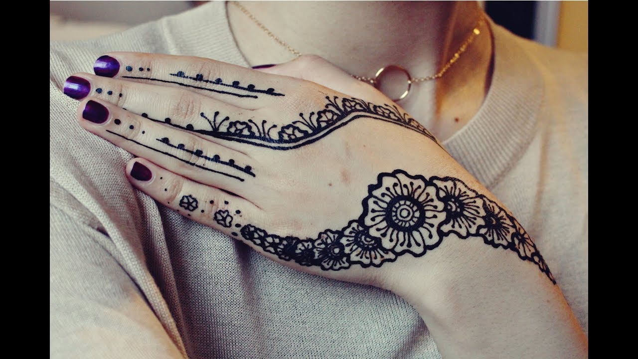 Black Henna Design Simple Demonstration Youtube