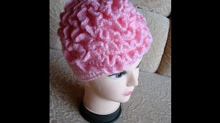 ШАПКА с цветком. Вязание крючком.  How to crochet a link hat with flower