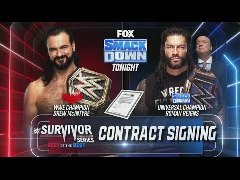 Download Universal Champion (Roman Reigns) vs WWE Champion (Drew McIntyre) Survivor Series Contract Signing
