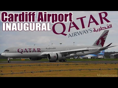 QATAR AIRWAYS INAUGURAL SERVICE TO CARDIFF AIRPORT |  FIRST LANDING (A350) WATER CANNON SALUTE & ATC