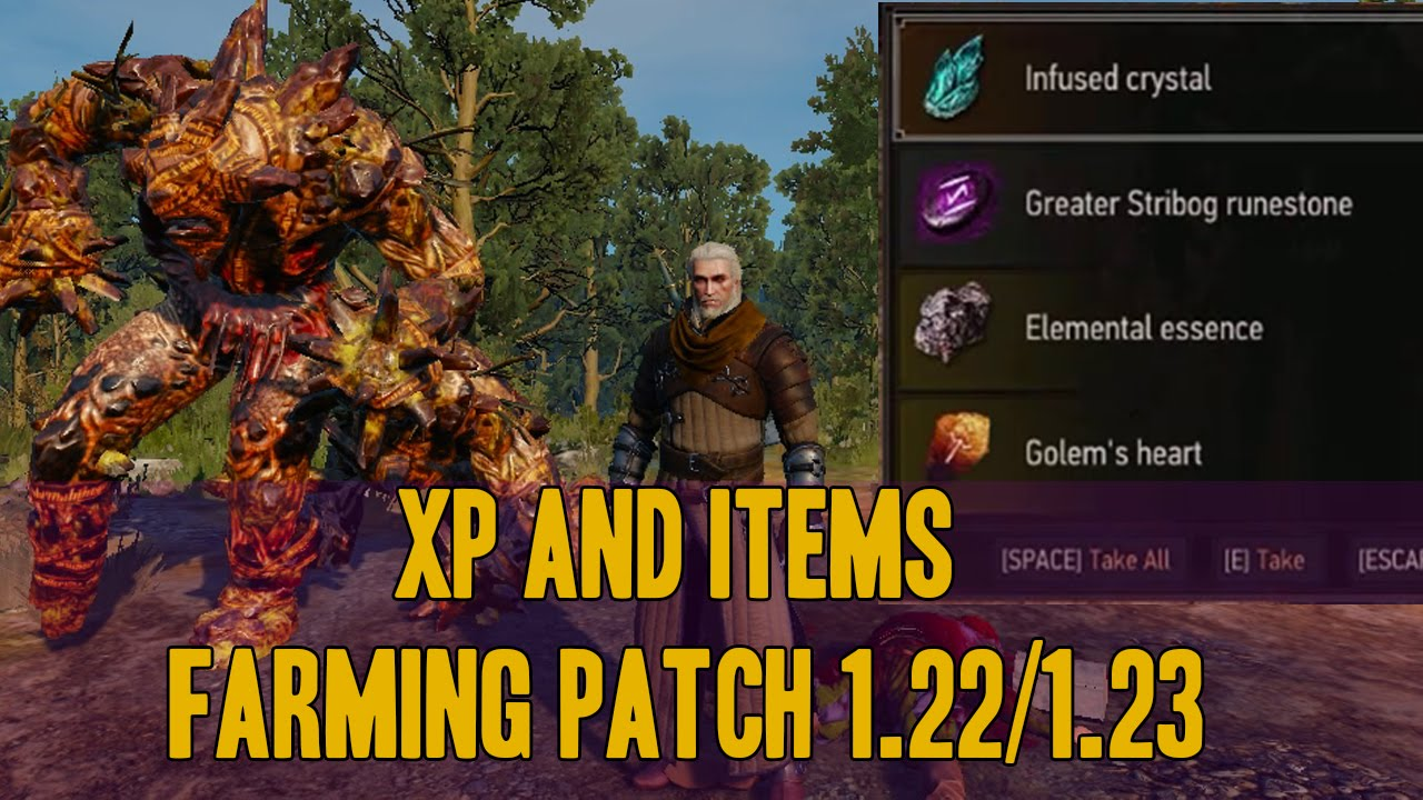 The witcher 3 : Xp and items farming (Golem's heart) patch 1 22/1 23  pc,ps4,xbox one by MadMonkey Gameplay