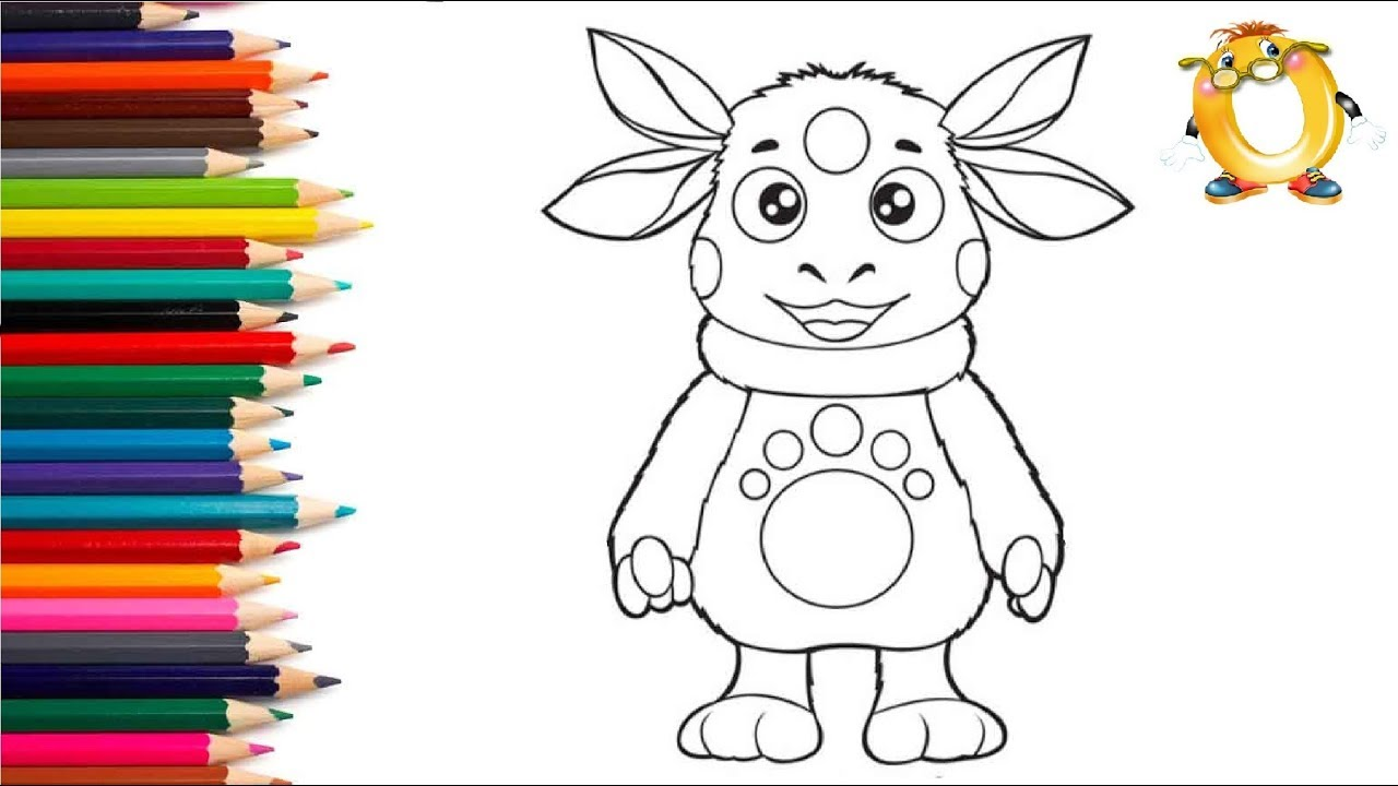 раскраска для детей лунтик рисуем лунтика учим цвета