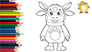 Раскраска для детей ЛУНТИК. Рисуем ЛУНТИКА. Учим цвета.