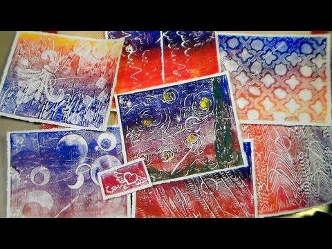 recycled styrofoam tray printmaking