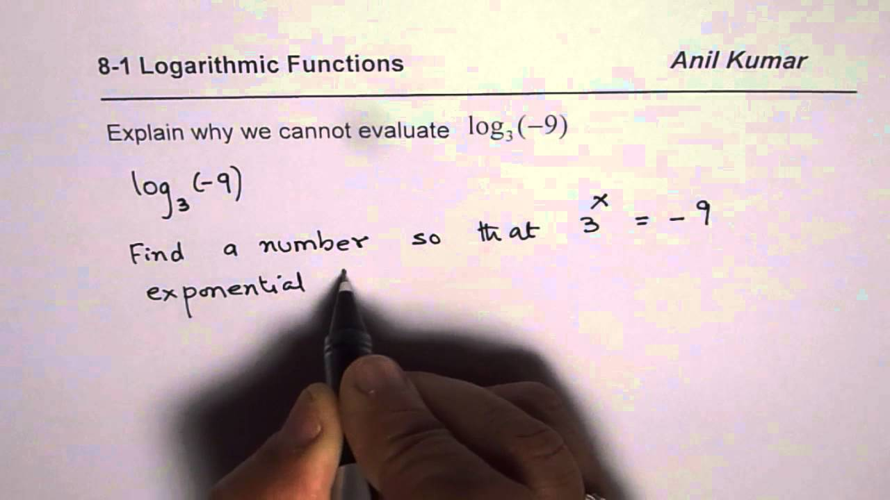 worksheet Exponential Equations Without Logarithms Worksheet why can we not evaluate logarithm log 9 of negative number youtube