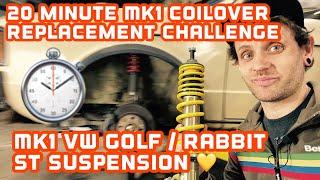 20 Minute Live Coilover Install - Mk1 VW Golf / Rabbit ST Suspension install fun challenge