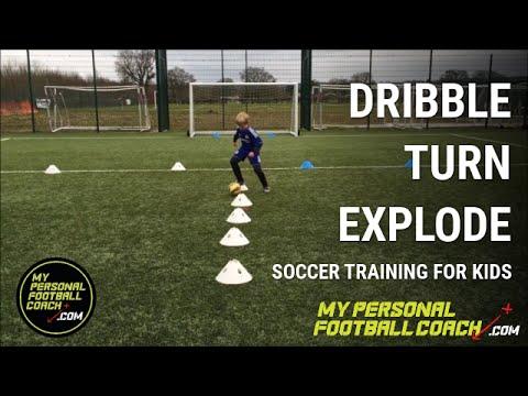 U6, U7, U8 Soccer Training Drill   Dribble Turn Explode