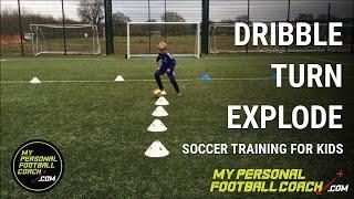 u6 u7 u8 soccer training drill dribble turn explode