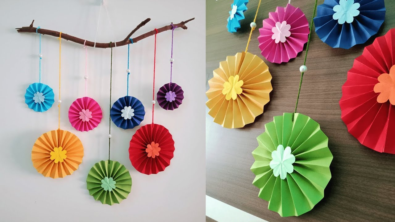 Paper flower wall hanging | DIY easy paper crafts tutorial ...