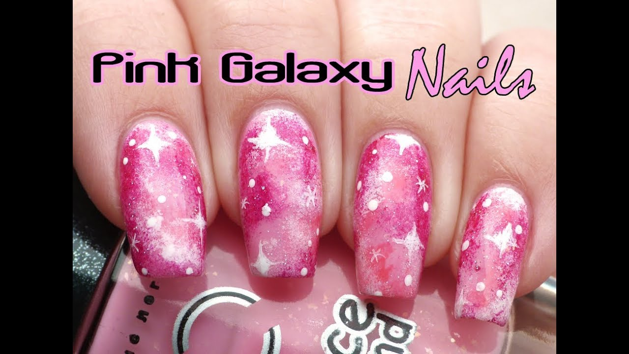 Pink Galaxy Nails Tutorial Lucys Stash Youtube