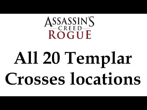 """Assassin's Creed: Rogue"" [DLC] All 20 Templar Crosses locations + James Gunn Armour location"