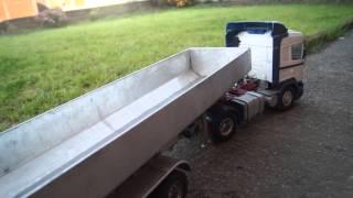 radio control 1/14 scale tri axle tipper on duel wheels