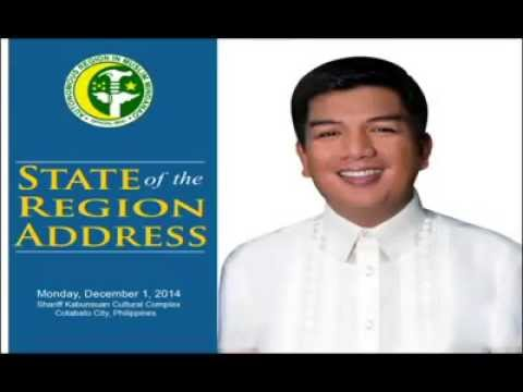 ARMM Governor Mujiv S  Hataman will deliver his State of the Region Address