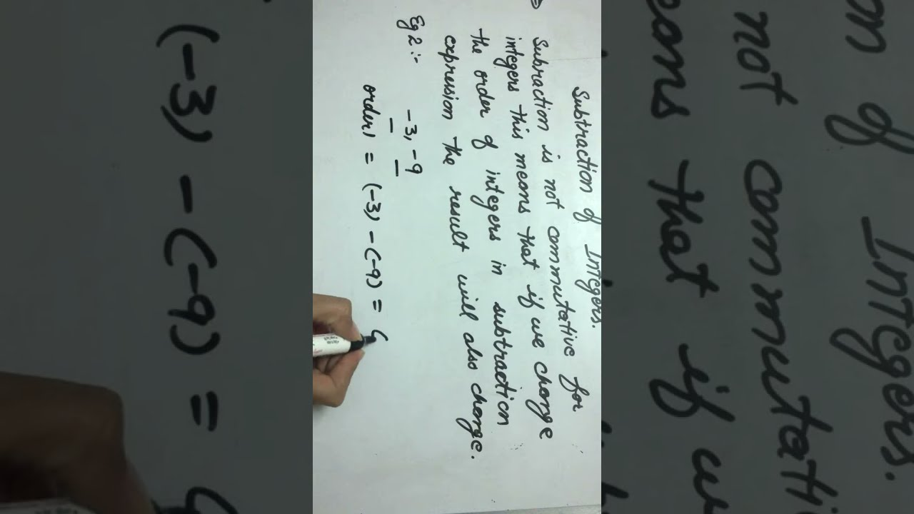 Commutative Property Subtraction Of Integers Example 2 Youtube