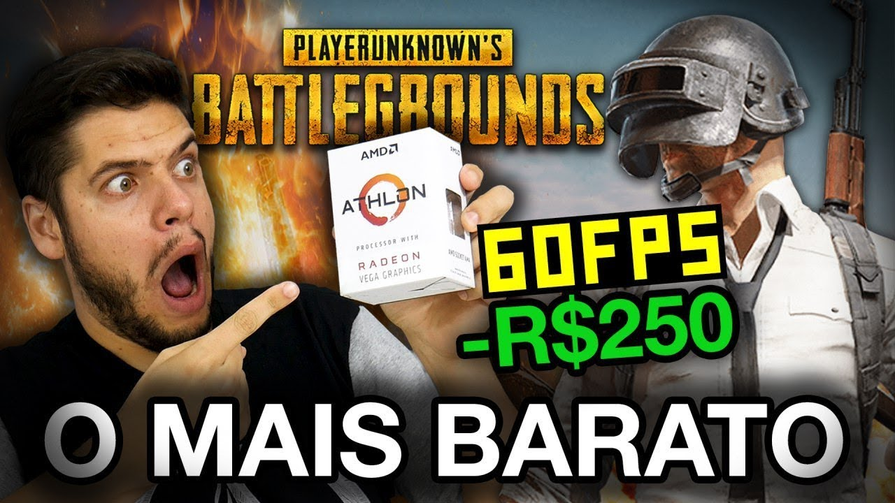 CPU BARATO PARA PUBG: 60 FPS no ATHLON 200GE com RX 570? Testes no LOW e MEDIUM e COMPARATIVO