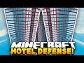 Minecraft DEFENDING THE HOTEL! (3v50 FAN BATTLE!) w/PrestonPlayz & The Pack!